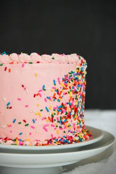 MALTED MILK BIRTHDAY CAKE with SPRINKLES [lapechefraiche] [funfetti, sprinkles, nonpareils, jimmies, dragee, sanding sugar, shaped sprinkles, crystal sugar, hundreds-and-thousands, perle en sucre, nib sugar, pearl sugar, hail sugar]