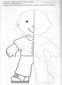 nice templete ~ felt book on dressing Preschool Writing, Preschool Learning Activities, Free Preschool, Preschool Activities, Kids Learning, Art Worksheets, Preschool Worksheets, Body Parts Preschool, Visual Perception Activities