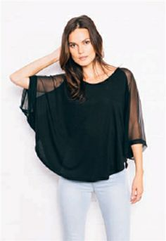 Feel The Piece Marlin Sheer Bat Wing Top | ShopAmbience.  We are in love with this relaxed yet sexy top from Feel The Piece.  #FeelThePiece