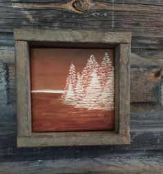 Fall Home Decor, Hand Engraved Wood, Rustic Art, Primitive, Orange, Cabin, Pine Trees, Landscape, Mantle, Country, Lodge, Gift, Rust Brown
