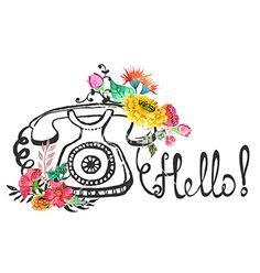 Retro graphic phone and watercolor flowers vector - by Elmiko on VectorStock®
