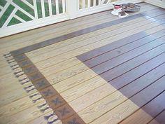 New enclosed patio design painted floors 36 Ideas Painted Porch Floors, Porch Flooring, Painted Rug, Painted Floorboards, Hand Painted, Patio Deck Designs, Patio Design, Deck Rug, Cabin Decks