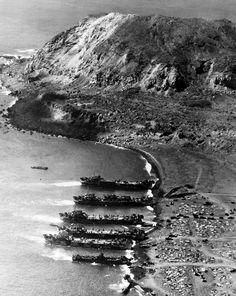 Iwo Jima - Americans landing, My. Suribachi in the background.
