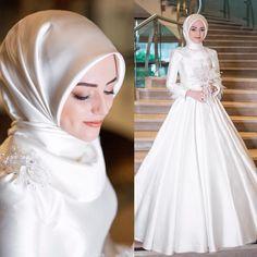 Muslim Wedding Gown, Hijabi Wedding, Wedding Hijab Styles, Muslimah Wedding Dress, Muslim Wedding Dresses, Muslim Brides, Muslim Girls, Muslim Couples, Dress Wedding