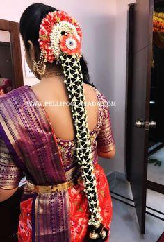 Pellipoolajada branches, All over AP/ Telangana/ TamilNadu/ Karnataka / Trivandrum/ Mumbai/ Delhi/ Singapore/ Australia/ and USA Order atleast 2 weeks in advance South Indian Wedding Hairstyles, Bridal Hairstyle Indian Wedding, Indian Wedding Gowns, Bridal Hair Buns, Wedding Bun Hairstyles, Bridal Hairdo, Indian Hairstyles, Indian Weddings, Saree Wedding