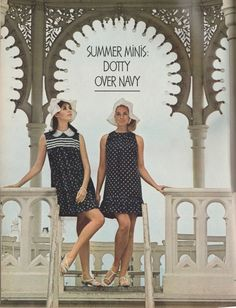 Seventeen Magazine May 1967. 'A major part of this summer's mini look: almost-micro dresses that are slashes of navy with white here and there…'