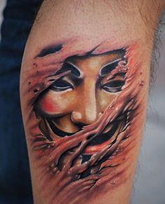 Masked caper … Anonymous mask tattoo. Photograph:A Pele é Minha