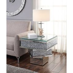 Decor, Table, End Tables, Mirrored Furniture, Furniture Decor, Furniture, Acme Furniture, Glass Top End Tables, Glass End Tables