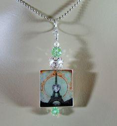Scrabble Jewelry  Pendant  Eiffel Tower Heart by MaDGreenCreations, $7.95