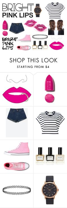 """""""MY STYLE : BRIGHT PINK LIPS"""" by tasaravan on Polyvore featuring beauty, Topshop, NARS Cosmetics, Zara, Vanessa Bruno Athé, Converse, Balmain and Marc Jacobs"""