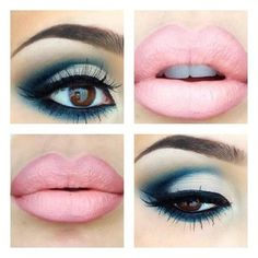 bold blue and white eyes with a soft pink lip