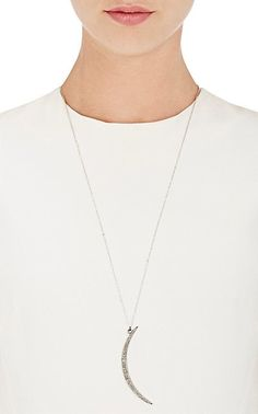 Feathered Soul Diamond Moon Pendant Necklace - Necklaces - 502841676