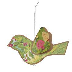 3d vintage decorations - birds with vintage illustration fronts