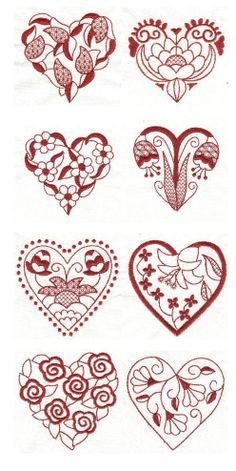 Embroidery designs | free machine embroidery designs | Jacobean Hearts redwork