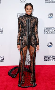 Ciara from 2015 American Music Awards: Red Carpet Arrivals  Shut. It. Down. The singer looks absolutely flawless in this floor length beaded number.