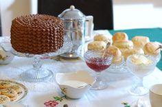Scones with homemade strawberry jam and Cornish clotted cream.