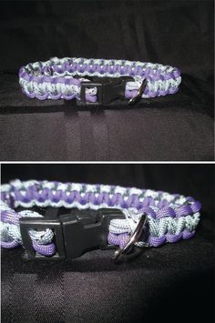 """14"""" Gray and Purple Paracord Dog Collar by StellaHudson33 on Etsy, $15.00"""