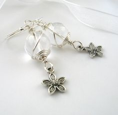 White Crystal Earrings Wire Wrapped Gemstone by adiencrafts, $15.00