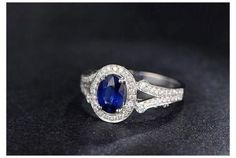 Oval Sapphire Engagement Ring Pave VVS Diamond Wedding 14K White Gold - Lord of Gem Rings - 4