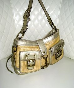 I'm auctioning 'COACH Legacy Woven Straw Metallic Leather Satchel Bag' on #tophatter