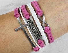 silver love bracelets  cross bracelets   infinite by lifesunshine, $8.99
