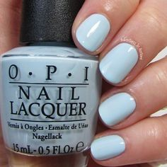 OPI It's a Boy! This baby blue is a true bundle of joy! I'm showing three coats with top coat. Opi Blue Nail Polish, Blue Shellac Nails, Sky Blue Nails, Opi Nail Colors, Spring Nail Colors, Spring Nails, Acrylic Nails, Baby Shower Nails Boy, Baby Boy Nails