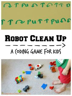 Robot Clean Up Game - a fun way to introduce coding to kids plus it's a sneaky way to get them to clean up!