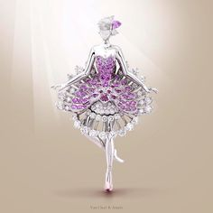 Van Cleef & Arpels Ballerina Clip - white gold, round diamonds, one rose-cut diamond, round and pear-shaped pink sapphires - unveiled during @MasterpieceLondon Fair  #MPL2015 #MasterpieceWeek