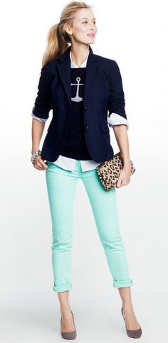 LOVE the combo of navy blue and black on top of mint jeans