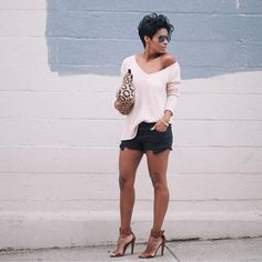 """""""#tbt To one of my favorite looks {Shorts & Sweater} .. Yay! 