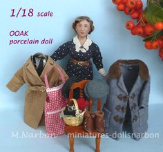OOAK scale 1/18 porcelain doll by Maria Narbon