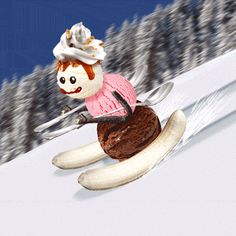 New party member! Tags: sports gif lol wtf snow ice cream cold ski snowman skiing diner justin gammon denny's xgames skier sundae slopes banana split