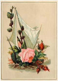 Antique Floral Sailboat Image.