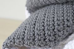 Extra Large Chunky Crochet Blanket- so easy! All single crochet.