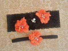 Garter, Halloween Garter, Wedding Garter Set- Toss Garter included Bridal Garter, Garder,  Orange and black on Etsy, $23.00