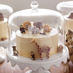 Brown-Sugar Layer Cake with Caramel Buttercream Frosting  This cake is even sweeter when embellished with handmade marzipan animal figures -- which aren't too hard to make if you have the patience.