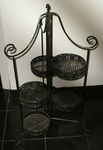 Vintage Heavy Wrought Iron Plant Stand 6 Tier Folding Stand Ornate Unique