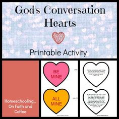 God's Conversation Hearts FREE Valentine's Day Printable Activity from Homeschooling...On Faith and Coffee!