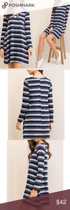 """🆕 Striped t shirt dress with neck strappy detail Beautiful multi-color navy stripe hack brush t-shirt dress  Features plunge V-neck with strappy details  Unlined Non-sheer Knit Lightweight  Fabric: 72% polyester, 25% Rayon, 3% Spandex   Measurements:  Small: Size 2/4 Armpit to Armpit: 17.5"""" Length : 35""""  Medium: Size 6/8 Armpit to Armpit: 18.5"""" Length : 35.5""""  Large: Size 10/12 Armpit to Armpit: 19.5"""" Length : 36"""" Pink Peplum Boutique Dresses Mini"""