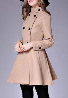 Buy Coats For Women from Sicily at Babyonlinewholesale. Online Shopping Long Sleeve Casual Wool Stand Collar Coat, The Best Work Coats. Discover unique designers fashion at Babyonlinewholesale. Pea Coats Women, Winter Coats Women, Fit And Flare Coat, Peplum Coat, Camel Coat Outfit, Stylish Coat, Korean Fashion, Double Breasted, Wool Coat
