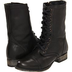 ec2b2aacd7 Steve Madden Troopa Black Leather - Zappos.com Free Shipping BOTH Ways Cute  Ankle Boots