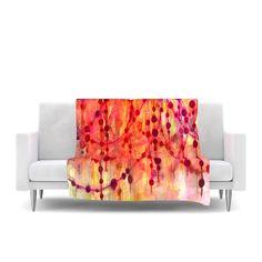 "Ebi Emporium ""Prismacolor Pearls"" Pink Orange Fleece Throw Blanket from KESS InHouse, @kessinhouse #EbiEmporium #art #fineart #throwblanket #blanket #fleece #polkadots #watercolor #painting #pastel #red #orange #pink #modern #decor #homedecor #colorful #fleece #girly"