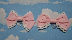 Grosgrain Ribbon Combs in Pink from Baby, the Stars Shine Bright - Lolita Desu