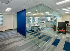 Small Conference room with Alur glass walls system and Interface carpet