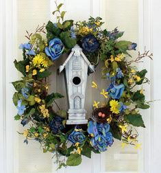 Mr Blue Birds Mansion Blue Roses and Yellow Daisies Silk Floral Wreath for Front Door Indoor Outdoor Summer Decor For Sale Summer Door Wreaths, Wreaths For Front Door, Front Doors, Yellow Daisies, Blue Roses, Living Room Decor Yellow Walls, Living Rooms, Kitchen Canvas Art, Kitchen Art