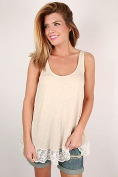Basic tank meets lace in this simple little top!