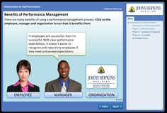 myPerformance course.         Course for performance management processes.    Interactive displaying benefits to manager staff and org.