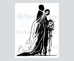 Art Deco Bride and Groom Cross Stitch by NewYorkNeedleworks, $8.50