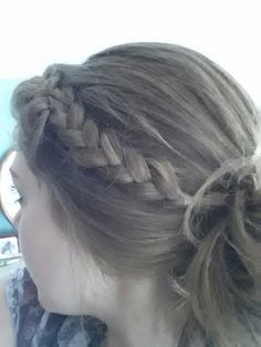 French Braided bangs into a messy bun... Did this to my hair today!