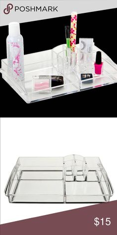 Acrylic Make Up Organizer From target. This is the exact one I'm selling. No trades. Offers through button only. 14 inches in length. 8 inches width. 3 inches deep (height). From target PINK Victoria's Secret Makeup Brushes & Tools